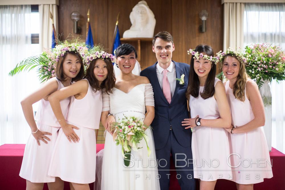 maries avec les témoins de la mariee