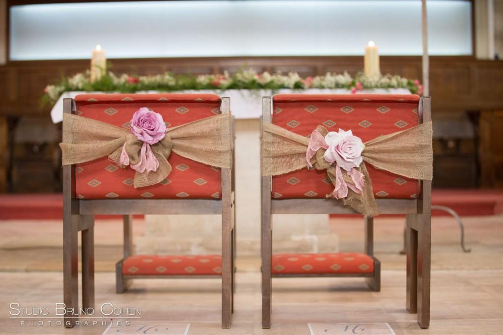 chaises des mariés dans l'église de Gouvieux