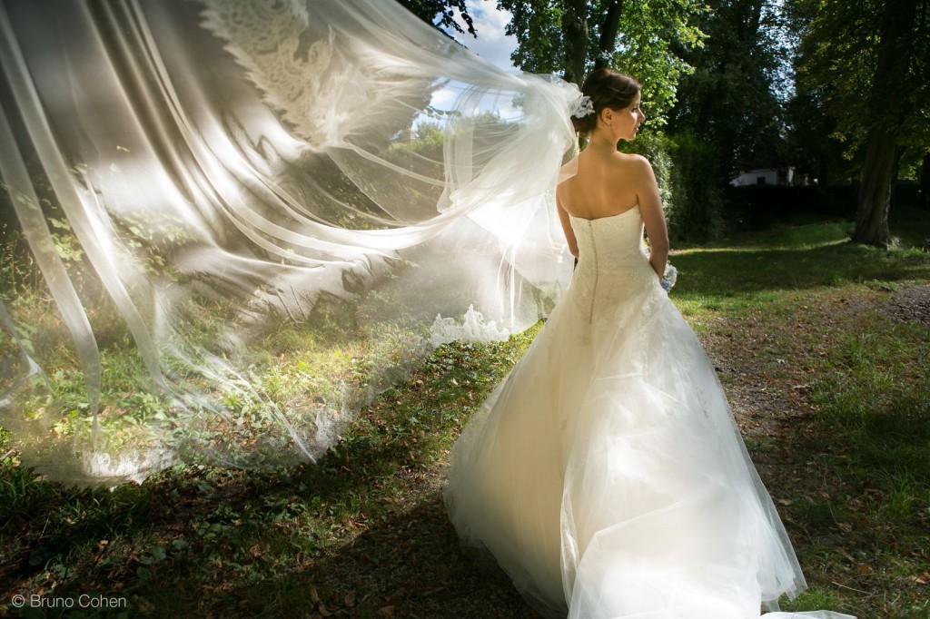 portrait de la mariee dans le parc du chateau d'ermenonville