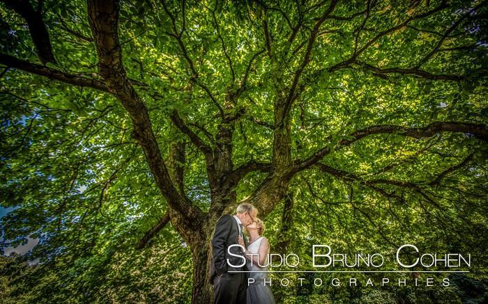couple de mariés sous un arbre gigantesque dans le parc du Chateau de la Tour Gouvieux