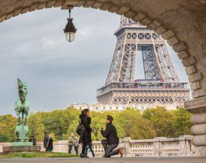 Proposal in Paris best spot Bir-Hakeim with Eiffel Tower as a backdrop