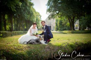 mariage-abbaye-royaumont-parc-couple-chien
