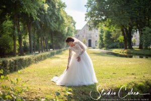 mariage-abbaye-royaumont-mariée-parc