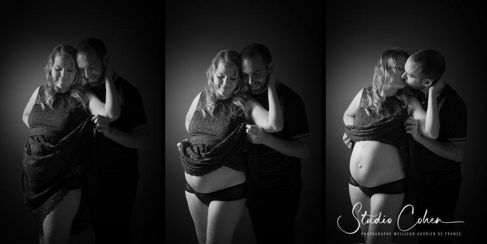 couple en noir et blanc, femme enceinte